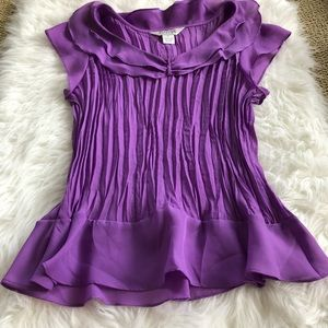 Purple crinkle blouse top xl runs small check meas